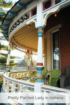 Now here's a pretty painted lady wraparound porch with colorful eye candy. This old Victorian for sale in Indianapolis had a great makeover inc the kitchen Victorian Porch, Folk Victorian, Victorian Homes, Victorian Farmhouse, Porch Windows, House Siding, Second Empire, House With Porch, Victorian Architecture