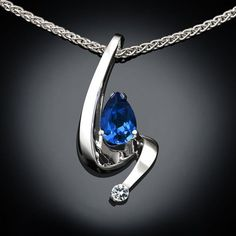 blue sapphire necklace - white sapphire - September birthstone - Chatham lab created gem - contemporary jewelry - wedding necklace - 3380
