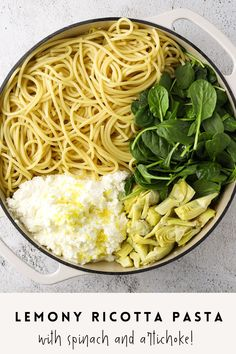 Spinach Artichoke Pasta, Spinach Pasta Recipes, Ricotta Pasta, Spinach Ricotta, Lemon Garlic Pasta, Lemon Chicken, One Pot Pasta, Artichoke Hearts, Healthy Pastas