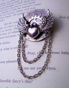 Steampunk Pin (A56) - Silver Winged Heart - Clockface and Gear - Swarovski Crystal - Dangle Chain. $20.00, via Etsy.