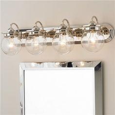 Traditional Clear Glass Globe Bath Light 4 Light
