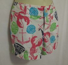 Lilly Pulitzer Callahan Shorts 2 Summer Classics White Rock My Boat Lobster Pink #LillyPulitzer #CasualShorts