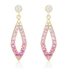 Sterling Silver with Yellow Gold Plated Shades of Created Pink Sapphire, White Topaz and Diamond Earrings Amazon Curated Collection. $102.00. Made in Thailand