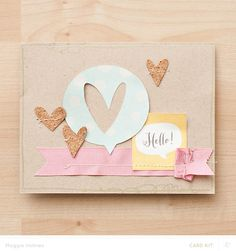 ♥ how she stitched through the ribbon and stapled the end-- very cute!! :) Card by Maggie Holmes | Studio Calico