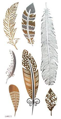 """Gold & Silber & Schwarz Metallic Federentwurf Tattoo, Tattoo-Größe: 6.69 """"x3.94"""" InterRookie http://www.amazon.de/dp/B00MT6XVGI/ref=cm_sw_r_pi_dp_xxi2ub1YCS4XG"""