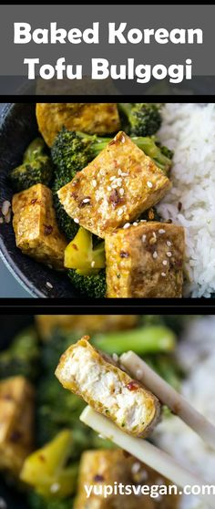 Tofu Bulgogi | Yup, it's Vegan. Tofu baked to perfection in a sweet and savory chili sesame marinade! Serve with veggies and rice for a complete meal. #Vegan #Glutenfree #Tofu