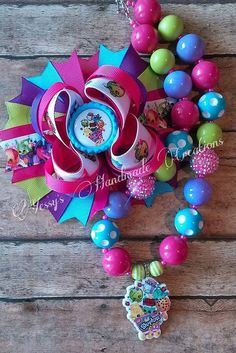 S Hopkins Jewelry Set | Shopkins inspired boutique hairbow and bubblegum by YHCbowtique