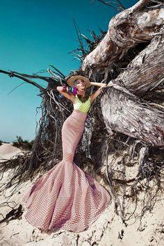Glamour Mermaids / karen cox. Editorial mermaid skirt beach pink