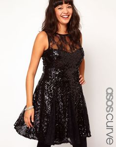 ASOS Curve | ASOS CURVE Skater Dress In Sequin And Lace at ASOS