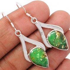 Boulder Chrysoprase 925 Sterling Silver Earrings Jewelry BCPE181 - JJDesignerJewelry