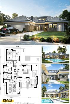 House Plans Mansion, Family House Plans, Dream House Plans, Residential Building Design, Home Building Design, Minimal House Design, Bungalow House Design, Modern Bungalow House, Bungalow House Plans