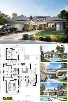 Bungalow Floor Plans, Modern Bungalow House, Bungalow Exterior, Dream House Exterior, Residential Building Design, Home Building Design, Building A House, Beautiful House Plans, Architectural House Plans