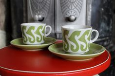 Arabia Finland vintage cups... Model designer Göran Bäck.