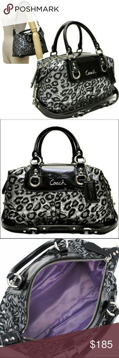 Authentic Coach Ashley Ocelot Satchel...NWOT Stunning Coach Ashley Ocelot Satchel! This bag is of medium size and in perfect condition! Black patent leather and black and silver sparkly ocelot print! Purple sateen lining! Absolutely gorgeous and ready for a new home!! Coach Bags Satchels