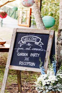 Rustic A-Frame Blackboard Signage | Lovebird Weddings