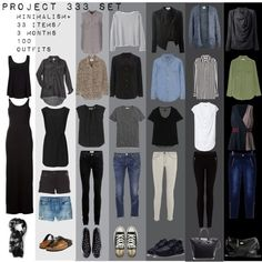 """Project 333 Minimal Capsule Wardrobe Set"" by designismymuse on Polyvore"