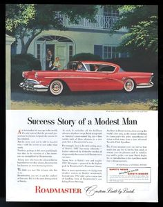 1957 Buick Roadmaster coupe red car art vintage print ad