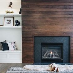 30 Interesting Farmhouse Fireplace Design Ideas For Living Room. If you are looking for Farmhouse Fireplace Design Ideas For Living Room, You come to the right place. Farmhouse Fireplace, Home Fireplace, Fireplace Remodel, Fireplace Surrounds, Fireplace Design, Fireplace Ideas, Fireplace Modern, Fireplace With Shelves, Black Fireplace Surround