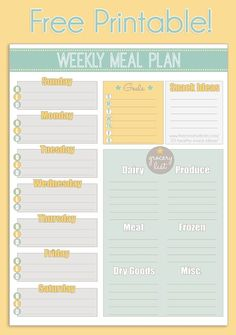 Use this free printable weekly meal planner to organize your menu and grocery list. Take the guess work out of preparing weeknight dinners and grocery shopping trips with this easy planner.