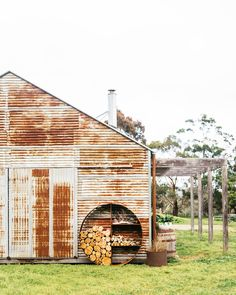 The Unearthed Garden Farm Shed, Firewood Storage, Shed Homes, Modern Barn, Facade House, Architecture, Cladding, Outdoor Living, Cottage