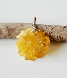 Natural Yellow Baltic Amber Flower Pendant, Gold Amber Pendant, Amber And Sterling Silver Pendant, Amber Jewelry For Her, Amber Flower