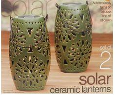 Solar Ceramic Lanterns Green NIB Costco http://www.amazon.com/dp/B00CCDD7L2/ref=cm_sw_r_pi_dp_OjYZtb1X2980W576