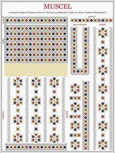 Semnele cusute - Un alfabet care vorbeste despre noi Folk Embroidery, Shirt Embroidery, Cross Stitch Embroidery, Embroidery Patterns, Cross Stitch Borders, Cross Stitch Patterns, Wedding Album Design, Diy Dress, Beading Patterns