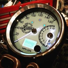 Custom cafe racer gauge by Iconic Moto Culture