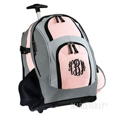 Monogrammed Wheeled Backpack from Marleylilly.com! #monograms #backtoschool
