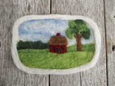 """Little Red House"" needle felted and wet felted landscape by Sue Small  --  Foxes Ridge Folk Arts"