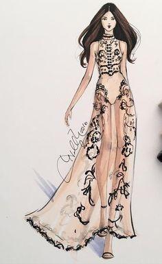 Sheer dress illustration