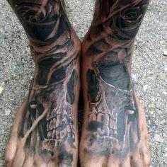 Freakish Skull And Rose Tattoo On Foot For Men