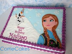 Frozen by CorrieCakes - I love her Anna Anna Frozen, Pastel Frozen Betun, Frozen Princess, Frozen Themed Birthday Party, Frozen Party, Birthday Party Themes, Birthday Ideas, Birthday Sheet Cakes, Birthday Cupcakes