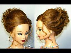 Wedding prom updo. Hairstyles for medium long hair. Прическа на выпускной, свадебная прическа. - YouTube