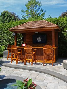 Darcy Ste. Marie of Toronto built my Bar height chairs for his outstanding pool bar !