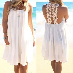 Style:Sexy Color:White Material:Chiffon Material:S/M/L/XL Bear the very air of romance wherever you go, thanks to the feminine taste of this dress. Its backless and hollow out lace crochet spliced design makes this dress so feminine, while its breezy fabric with a loose silhouette can give you a cool summer. Your perfect summer companion.