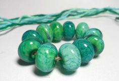 Lampwork. Glass bead handmade. Beads aqua by Glasskaramelka