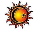 Sun Moon Star Tattoo - I like the idea of this tattoo. Justin rises with the sun, I rise with the moon, and our kids are shooting stars! Sun Tattoos, Body Art Tattoos, Trendy Tattoos, Tatoos, Sun Moon Stars, Sun And Stars, Moon Star Tattoo, Voodoo Tattoo, Owl Tattoo Drawings