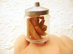 Kawaii Miniature Food Ring Biscotti Cookie Jar by SouZouCreations, $12.50 #etsy #jewelry #jewellery #shopping #etsy #handmade #food #gift #present #accessory #accessories #harajuku #tokyo #fashion