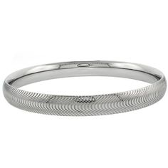 Stainless Surgical Steel Domed Diamond Cut Bangle Bracelet 7.5 Inches Double Accent. $20.99. Save 65% Off!