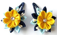 Kanzashi fabric flowers Set of 2 hair snap clips Lt blue by JuLVa, $13.50