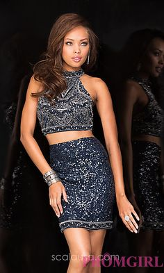 Two Piece Short Sequin Dress by Scala at PromGirl.com