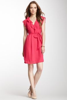 Nanette Lepore Talavera Belted Dress - love this bright reddish pink