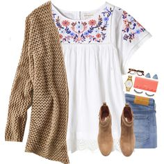 A fashion look from October 2016 featuring American Eagle Outfitters cardigans, Rebecca Taylor tops and Levi's Made & Crafted jeans. Browse and shop related lo…