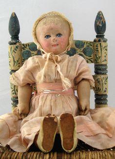 "Antique Martha Chase Stockinet Doll Dress & Shoes Original Paint 16"" Beautiful!"