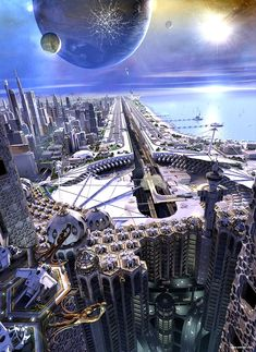Futuristic Coastal City on a planet with a nearby twin planet.
