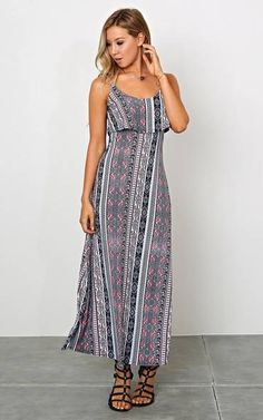 Imogen Border Print Maxi Dress - LGE - Coral Combo - Coral Combo - Large - Styles For Less