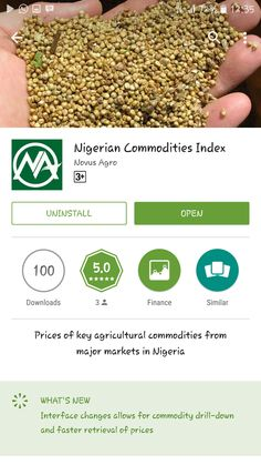 HURRAH! HURRAH! Nigerian Commodity Prices Now At A Click Of The Button Novus Agro Nigerian Commodity index (NANCI) App is now available at the Google play store. Here's How To Download It. 1. Visit Google play store on any Android phone. 2. In the search box, type for novusagro and click on Nigerian Commodity Index to download the app. That's all. Benefit of the app. To monitor Prices/Markets movement of agricultural commodities anywhere you are and make smart and informed decision.