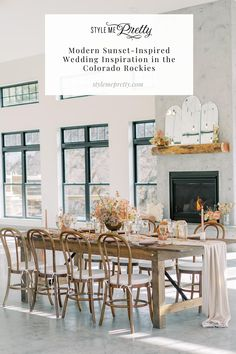 """Today's ethereal shoot was inspired by the colors that wash the sky over the Rocky Mountains during a Colorado sunset. 🌅  From the unique escort card display that read """"This Day, These People,"""" to the warm, soft blooms and exquisite fashion, you'll be head over heels for all the modern mountain inspo this gallery captured by @decorusfineart has to offer. ⛰✨ All details on SMP!  #coloradowedding #naturewedding #modernwedding #weddingsunset #weddinginspiration Wedding Inspiration, Wedding Ideas, Colorado Rockies, Rocky Mountains, Ethereal, Table Settings, Display, Warm, Table Decorations"""