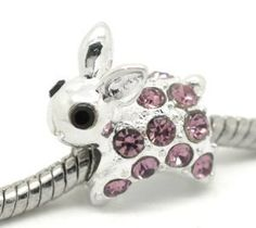 Rhinestone Bunny Charm - Easter Bunny Jewelry Pandora Beads, Pandora Bracelets, Chain Bracelets, Fun Arts And Crafts, Novelty Items, Gifts For Her, Bling, Charmed, Happy Easter